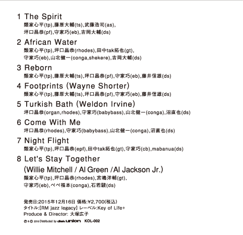 1.The Spirit 2.African Water 3.Reborn 4.Footprints 5.Turkish Bath 6.Come With Me 7.Night Flight 8.Let's Stay Together